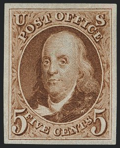 Sale Number 1122, Lot Number 3, Postmasters Provisionals thru 1847 Issue (Scott 10X1, 1-4)5c Red Brown, Reproduction (3), 5c Red Brown, Reproduction (3)
