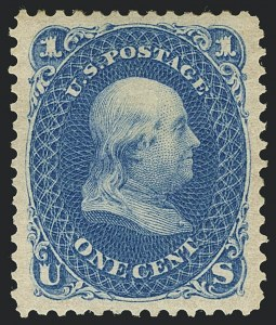 Sale Number 1122, Lot Number 57, 1875 Re-Issue of 1861-66 Issue (Scott 102-111)1c Blue, Re-Issue (102), 1c Blue, Re-Issue (102)