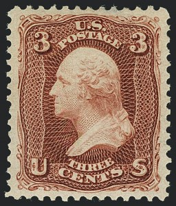Sale Number 1122, Lot Number 59, 1875 Re-Issue of 1861-66 Issue (Scott 102-111)3c Brown Red, Re-Issue (104), 3c Brown Red, Re-Issue (104)