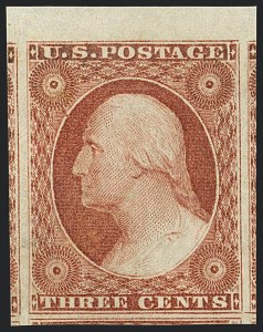Sale Number 1122, Lot Number 8, 1851-56 Issue (Scott 5-17)3c Dull Red, Ty. I (11). Mint N.H, 3c Dull Red, Ty. I (11). Mint N.H