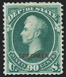 Sale Number 1123, Lot Number 702, Offical Special Printings: Post Office thru State1c-90c State, Specimen Ovpt. (O57S-O67S), 1c-90c State, Specimen Ovpt. (O57S-O67S)