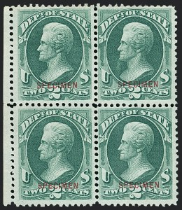 Sale Number 1123, Lot Number 706, Offical Special Printings: Post Office thru State2c State, Specimen Ovpt. (O58S), 2c State, Specimen Ovpt. (O58S)
