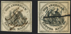 Sale Number 1124, Lot Number 21, American Letter Mail Company: Large  Eagle IssueAmerican Letter Mail Co., (5c) Black on Gray (5L2), American Letter Mail Co., (5c) Black on Gray (5L2)