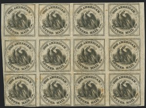 Sale Number 1124, Lot Number 22, American Letter Mail Company: Large  Eagle IssueAmerican Letter Mail Co., (5c) Black on Gray (5L2), American Letter Mail Co., (5c) Black on Gray (5L2)