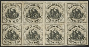 Sale Number 1124, Lot Number 23, American Letter Mail Company: Large  Eagle IssueAmerican Letter Mail Co., (5c) Black on Gray (5L2), American Letter Mail Co., (5c) Black on Gray (5L2)