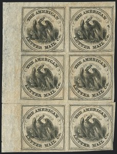 Sale Number 1124, Lot Number 24, American Letter Mail Company: Large  Eagle IssueAmerican Letter Mail Co., (5c) Black on Gray (5L2), American Letter Mail Co., (5c) Black on Gray (5L2)