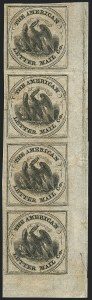 Sale Number 1124, Lot Number 25, American Letter Mail Company: Large  Eagle IssueAmerican Letter Mail Co., (5c) Black on Gray (5L2), American Letter Mail Co., (5c) Black on Gray (5L2)