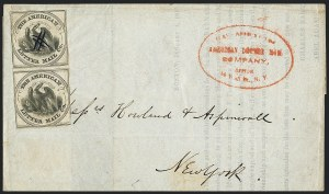 Sale Number 1124, Lot Number 27, American Letter Mail Company: Large  Eagle IssueAmerican Letter Mail Co., (5c) Black on Gray (5L2), American Letter Mail Co., (5c) Black on Gray (5L2)