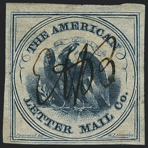 Sale Number 1124, Lot Number 42, American Letter Mail Company: Blue  Eagle IssueAmerican Letter Mail Co., (5c) Blue on Gray (5L3), American Letter Mail Co., (5c) Blue on Gray (5L3)