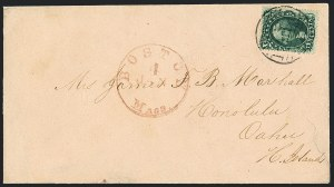 Sale Number 1125, Lot Number 729, 1857-60 Issue10c Green, Ty. II (32), 10c Green, Ty. II (32)