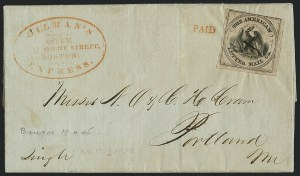 Sale Number 1125, Lot Number 860, 1844-45 Independent MailsAmerican Letter Mail Co., (5c) Black on Gray (5L2), American Letter Mail Co., (5c) Black on Gray (5L2)