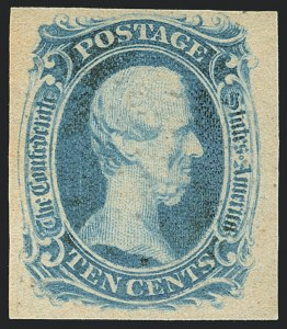 "Sale Number 1125, Lot Number 969, Confederate States: General Issues off Cover10c Blue, ""TEN"" (9), 10c Blue, ""TEN"" (9)"