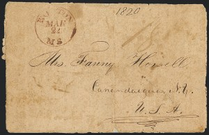 "Sale Number 1126, Lot Number 1, Early Stampless Missionary Mail and G.B. Post & Co.""Hannaloorah, Woahoo, June 27, 1820, ""Hannaloorah, Woahoo, June 27, 1820"