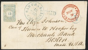 "Sale Number 1126, Lot Number 11, 1851 Missionary Issue Stamps and Covers (Scott 2-4)1851, 13c Blue, ""Hawaiian Postage"" (3), 1851, 13c Blue, ""Hawaiian Postage"" (3)"