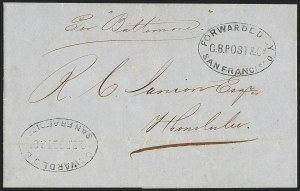 Sale Number 1126, Lot Number 3, Early Stampless Missionary Mail and G.B. Post & Co.Forwarded By G.B. Post & Co. San Francisco, Forwarded By G.B. Post & Co. San Francisco