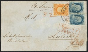 Sale Number 1126, Lot Number 39, U.S. 1857-60 Issues on covers from HawaiiUnited States, 1857-60, 1c Blue, Ty. V, 30c Orange (24, 38), United States, 1857-60, 1c Blue, Ty. V, 30c Orange (24, 38)