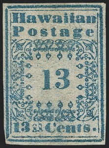"Sale Number 1126, Lot Number 9, 1851 Missionary Issue Stamps and Covers (Scott 2-4)1851, 13c Blue, ""Hawaiian Postage"" (3), 1851, 13c Blue, ""Hawaiian Postage"" (3)"