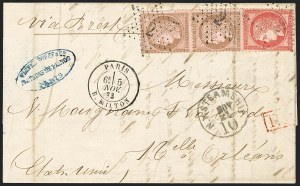 Sale Number 1127, Lot Number 192, French Maritime Mails and Compagnie Generale TransatlantiqueFRANCE, 1872, 80c Rose on Pinkish (63; Yvert 57), FRANCE, 1872, 80c Rose on Pinkish (63; Yvert 57)