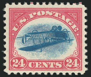 Sale Number 1128, Lot Number 275, Jenny 95: Position 58 Inverted Jenny, Graded XF-Superb 95 (C3a)24c Carmine Rose & Blue, Center Inverted (C3a), 24c Carmine Rose & Blue, Center Inverted (C3a)