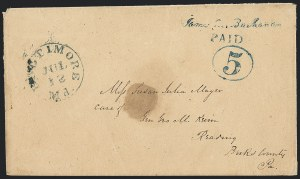 Sale Number 1129, Lot Number 306, Postmasters ProvisionalsBaltimore Md., 5c Blue on Manila entire (3XU1), Baltimore Md., 5c Blue on Manila entire (3XU1)