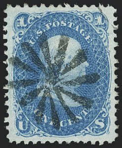 Sale Number 1129, Lot Number 355, 1867-68 Grilled Issue1c Blue, F. Grill (92), 1c Blue, F. Grill (92)
