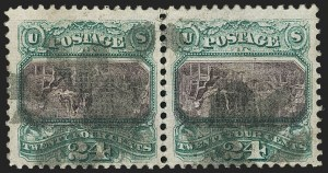 Sale Number 1129, Lot Number 372, 1869 Pictorial Issue and 1975 Re-Issue24c Green & Violet, Center Inverted (120b), 24c Green & Violet, Center Inverted (120b)