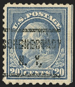 Sale Number 1129, Lot Number 429, Washington-Franklin and Panama-Pacific Issues20c Light Ultramarine, Perf 10 at Bottom (515d), 20c Light Ultramarine, Perf 10 at Bottom (515d)
