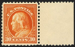 Sale Number 1129, Lot Number 430, Washington-Franklin and Panama-Pacific Issues30c Orange Red, Perf 10 at Bottom (516a), 30c Orange Red, Perf 10 at Bottom (516a)