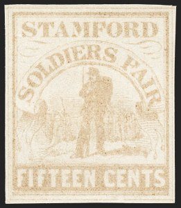 Sale Number 1129, Lot Number 450, Locals, Wells, Fargo, Sanitary Fair, Newspapers, Postal StationerySoldier's Fair, Stamford Conn., 15c Pale Brown (WV15), Soldier's Fair, Stamford Conn., 15c Pale Brown (WV15)