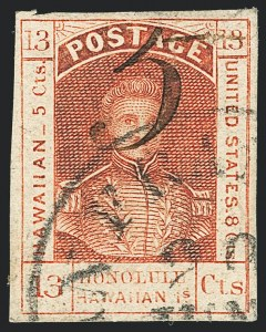 Sale Number 1129, Lot Number 460, HawaiiHAWAII, 1857, 5c on 13c Dark Red (7), HAWAII, 1857, 5c on 13c Dark Red (7)