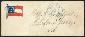 Sale Number 1129, Lot Number 483, Confederate States: PatrioticsRaleigh N.C., 5c Red entire (68XU1), Raleigh N.C., 5c Red entire (68XU1)