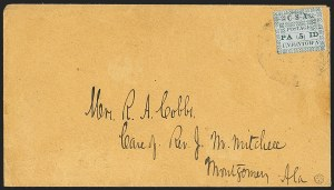 Sale Number 1129, Lot Number 521, Confederate States: Postmasters Provisionals, New Orleans thru UnionvilleUniontown Ala., 5c Green on Gray Blue (86X3), Uniontown Ala., 5c Green on Gray Blue (86X3)