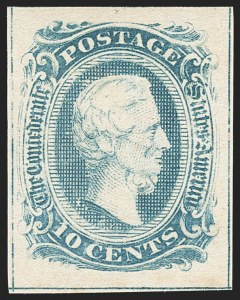 Sale Number 1129, Lot Number 529, Confederate States: General Issues10c Blue, Frameline (10), 10c Blue, Frameline (10)