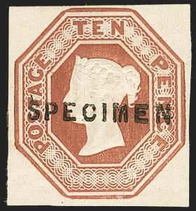 "Sale Number 1130, Lot Number 1021, Great Britain - 1847-54 Embossed IssueGREAT BRITAIN, 1848, 10p Red Brown, Embossed, ""Specimen"" Handstamp (6S; SG 57s), GREAT BRITAIN, 1848, 10p Red Brown, Embossed, ""Specimen"" Handstamp (6S; SG 57s)"