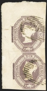 Sale Number 1130, Lot Number 1023, Great Britain - 1847-54 Embossed IssueGREAT BRITAIN, 1854, 6p Dull Lilac, Embossed, Watermark Inverted (7d; SG 59; SG Specialised H3(2)e), GREAT BRITAIN, 1854, 6p Dull Lilac, Embossed, Watermark Inverted (7d; SG 59; SG Specialised H3(2)e)