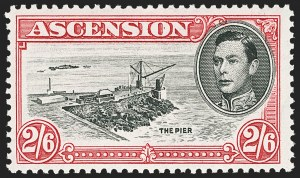 Sale Number 1130, Lot Number 1071, Ascension thru Australian States (New South Wales)ASCENSION, 1944, 2sh6p Carmine & Black, Cut Mast and Railings (47 var; SG 45cb), ASCENSION, 1944, 2sh6p Carmine & Black, Cut Mast and Railings (47 var; SG 45cb)