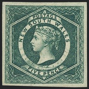 Sale Number 1130, Lot Number 1076, Ascension thru Australian States (New South Wales)NEW SOUTH WALES, 1854-55, 5p Green (26; SG 88), NEW SOUTH WALES, 1854-55, 5p Green (26; SG 88)