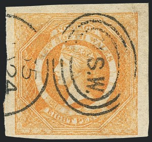 Sale Number 1130, Lot Number 1077, Ascension thru Australian States (New South Wales)NEW SOUTH WALES, 1855, 8p Orange (30; SG 98), NEW SOUTH WALES, 1855, 8p Orange (30; SG 98)