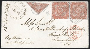 Sale Number 1130, Lot Number 1133, Canadian Provinces - New BrunswickNEW BRUNSWICK, 1851, 3p Red, Half Used as 1-1/2p (1b; SG 2a), NEW BRUNSWICK, 1851, 3p Red, Half Used as 1-1/2p (1b; SG 2a)