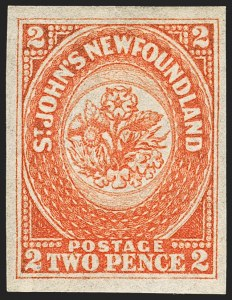 Sale Number 1130, Lot Number 1142, Canadian Provinces - NewfoundlandNEWFOUNDLAND, 1860, 2p Orange (11; SG 10), NEWFOUNDLAND, 1860, 2p Orange (11; SG 10)