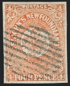 Sale Number 1130, Lot Number 1143, Canadian Provinces - NewfoundlandNEWFOUNDLAND, 1860, 4p Orange (12; SG 12), NEWFOUNDLAND, 1860, 4p Orange (12; SG 12)
