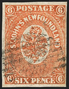 Sale Number 1130, Lot Number 1146, Canadian Provinces - NewfoundlandNEWFOUNDLAND, 1860, 6p Orange (13; SG 14), NEWFOUNDLAND, 1860, 6p Orange (13; SG 14)