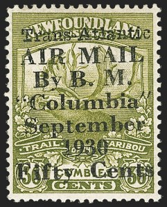 Sale Number 1130, Lot Number 1172, Canadian Provinces - NewfoundlandNEWFOUNDLAND, 1930, 50c on 36c Olive Green, Columbia Air Post (C5; SG 191), NEWFOUNDLAND, 1930, 50c on 36c Olive Green, Columbia Air Post (C5; SG 191)
