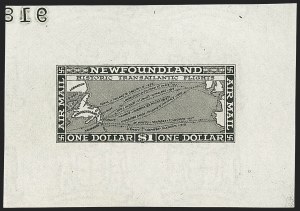 Sale Number 1130, Lot Number 1173, Canadian Provinces - NewfoundlandNEWFOUNDLAND, 1931, 15c-$1.00 Air Post, Black Large Die Trial Color Proofs on Wove Paper (C6TC-8TC), NEWFOUNDLAND, 1931, 15c-$1.00 Air Post, Black Large Die Trial Color Proofs on Wove Paper (C6TC-8TC)