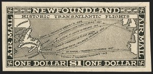 Sale Number 1130, Lot Number 1174, Canadian Provinces - NewfoundlandNEWFOUNDLAND, 1931, 15c-$1.00 Air Post, Black Plate Trial Color Proofs on Bond Paper (C6TC-8TC), NEWFOUNDLAND, 1931, 15c-$1.00 Air Post, Black Plate Trial Color Proofs on Bond Paper (C6TC-8TC)