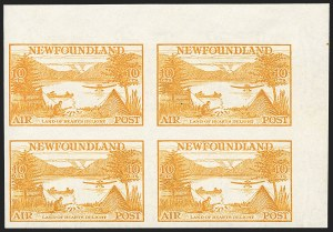 Sale Number 1130, Lot Number 1178, Canadian Provinces - NewfoundlandNEWFOUNDLAND, 1933, 10c Yellow, Air Post, Imperforate (C14a), NEWFOUNDLAND, 1933, 10c Yellow, Air Post, Imperforate (C14a)