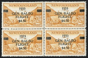Sale Number 1130, Lot Number 1179, Canadian Provinces - NewfoundlandNEWFOUNDLAND, 1933, $4.50 Balbo Air Post (C18), NEWFOUNDLAND, 1933, $4.50 Balbo Air Post (C18)