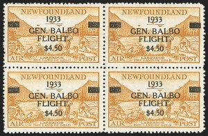 Sale Number 1130, Lot Number 1180, Canadian Provinces - NewfoundlandNEWFOUNDLAND, 1933, $4.50 Balbo Air Post (C18), NEWFOUNDLAND, 1933, $4.50 Balbo Air Post (C18)