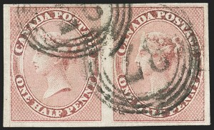 Sale Number 1130, Lot Number 1209, Canada - Pence thru Cents IssuesCANADA, 1857, -1/2p Rose (8; SG 17), CANADA, 1857, -1/2p Rose (8; SG 17)