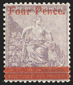 Sale Number 1130, Lot Number 1382, Cape of Good Hope incl. MafekingCAPE OF GOOD HOPE, 1868 4p on 6p Violet (20; SG 27), CAPE OF GOOD HOPE, 1868 4p on 6p Violet (20; SG 27)